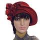 """Шляпы ручной работы. Ярмарка Мастеров - ручная работа. Купить Авторская шляпка  """"Эмилия"""" -  войлок. Handmade. Бордовый, ретро стиль"""