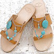 Обувь ручной работы. Ярмарка Мастеров - ручная работа Boho blue - кожаные сандалии с крупной бирюзой. Handmade.