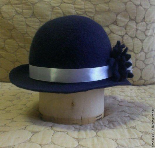 Шляпы ручной работы. Ярмарка Мастеров - ручная работа. Купить Шляпка валенная. Handmade. Тёмно-синий