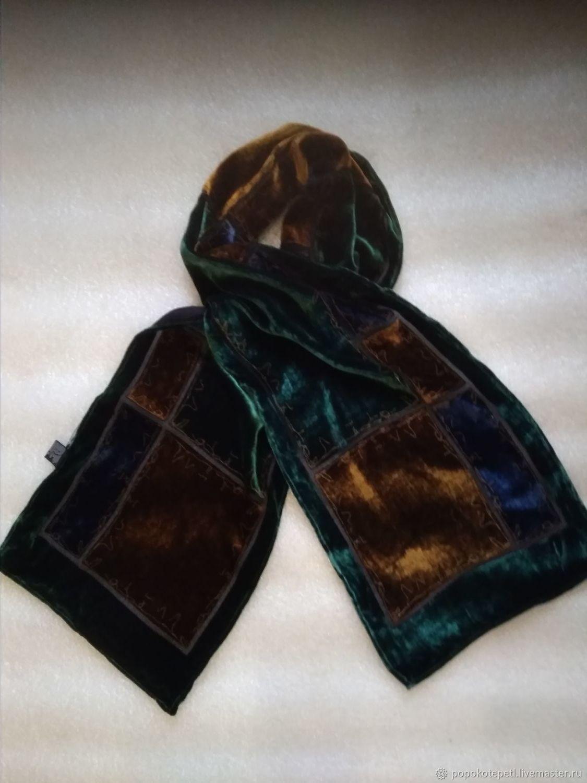 Vintage scarf from pan velvet, vintage China, Vintage accessories, Novorossiysk,  Фото №1