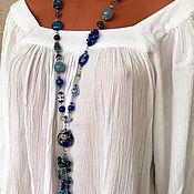 Украшения handmade. Livemaster - original item Stylish decoration on the neck of blue stones. Long boho style beads. Handmade.