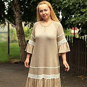 "Одежда handmade. Livemaster - original item Knitted dress ""favorite boho"" beige cotton. Handmade."