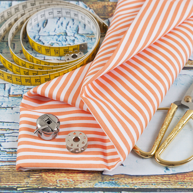 Ткань Полоска оранжевая, сатин, 100% хлопок, Ткани, Москва,  Фото №1