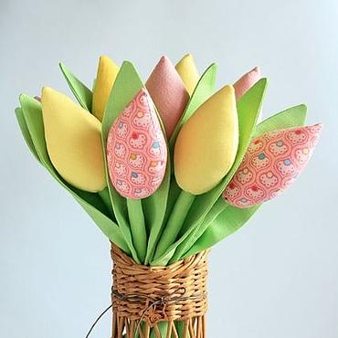 Куклы и игрушки ручной работы. Ярмарка Мастеров - ручная работа Тюльпаны в стиле Тильда желтый розовый салатовый Пасха. Handmade.