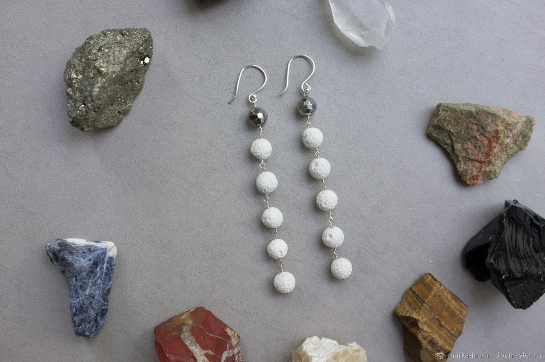 Long earrings with white volcanic lava in silver, Earrings, Samara,  Фото №1