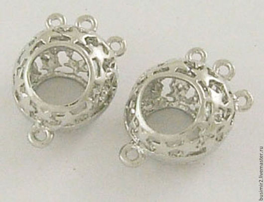 Коннектор, цвет - серебро. Размер 16х11х9 мм. Коннекторы для создания украшений. Busimir