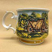 Посуда handmade. Livemaster - original item Porcelain Cup Summer Village (author`s painting). Handmade.