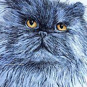 Картины ручной работы. Ярмарка Мастеров - ручная работа Вышитая гладью картина Персидский Кот. Handmade.