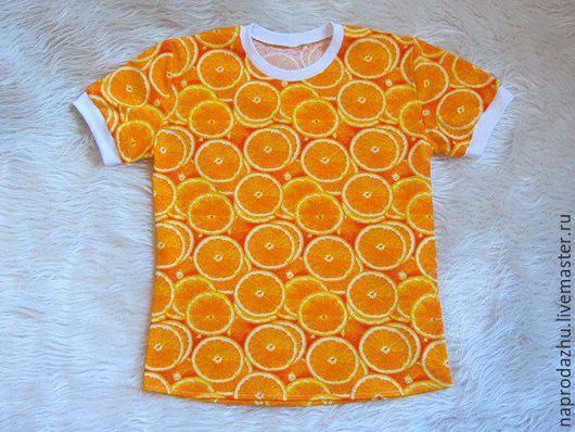 Футболки, майки ручной работы. Ярмарка Мастеров - ручная работа. Купить футболка Апельсины, р.42-46. Handmade. Оранжевый