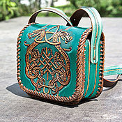 Сумки и аксессуары handmade. Livemaster - original item Leather bag with Celtic coat of arms-turquoise. Handmade.