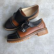 Обувь ручной работы handmade. Livemaster - original item Monki black / brown toned leather beige sole. Handmade.