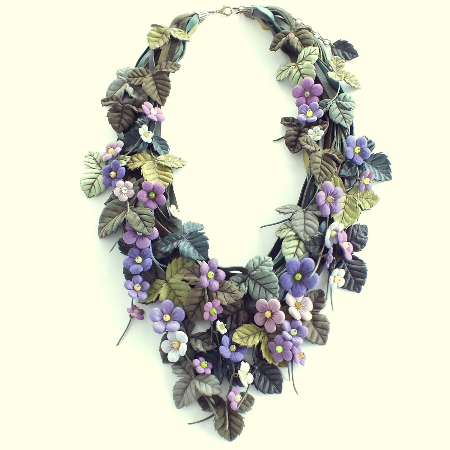 Lilac Hops. Necklace made of genuine leather, Necklace, St. Petersburg,  Фото №1