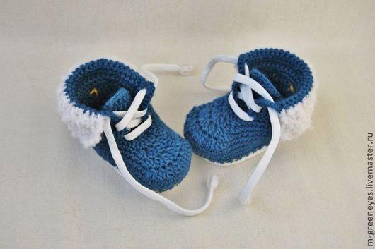"""Для новорожденных, ручной работы. Ярмарка Мастеров - ручная работа. Купить Пинетки """"Джинсовые кроссовки"""". Handmade. Пинетки, на выписку, синий"""