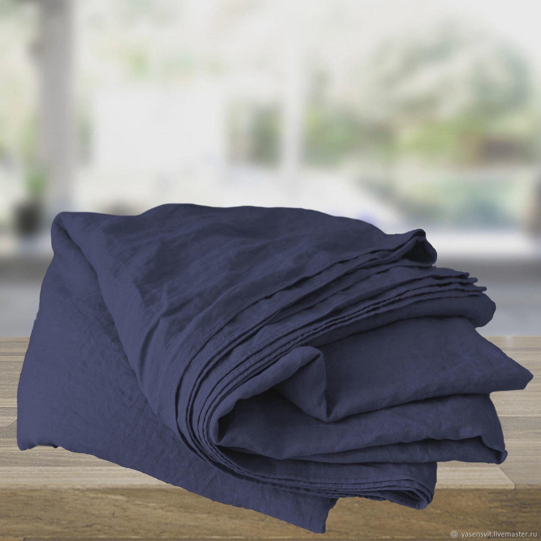 Home Textiles Carpets Handmade Livemaster Dark Blue Linen Sheets