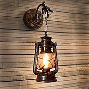 Для дома и интерьера handmade. Livemaster - original item Wall sconce oil lantern electric wall lamp loft vintage style. Handmade.