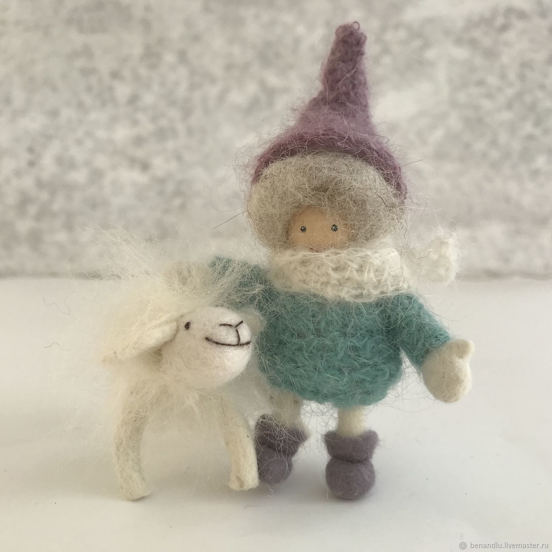 Куколка и Овечка. Овечка - брошь. Шерсть. Миниатюрные куколки, Мягкие игрушки, Санкт-Петербург,  Фото №1