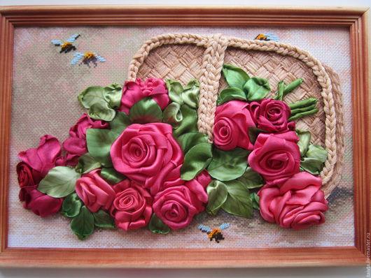 """Картины цветов ручной работы. Ярмарка Мастеров - ручная работа. Купить Картина цветов""""Розы в корзине"""". Handmade. Вышивка лентами"""