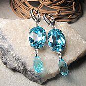 Украшения handmade. Livemaster - original item Earrings with Swarovski crystals pendant. 3 colors.. Handmade.