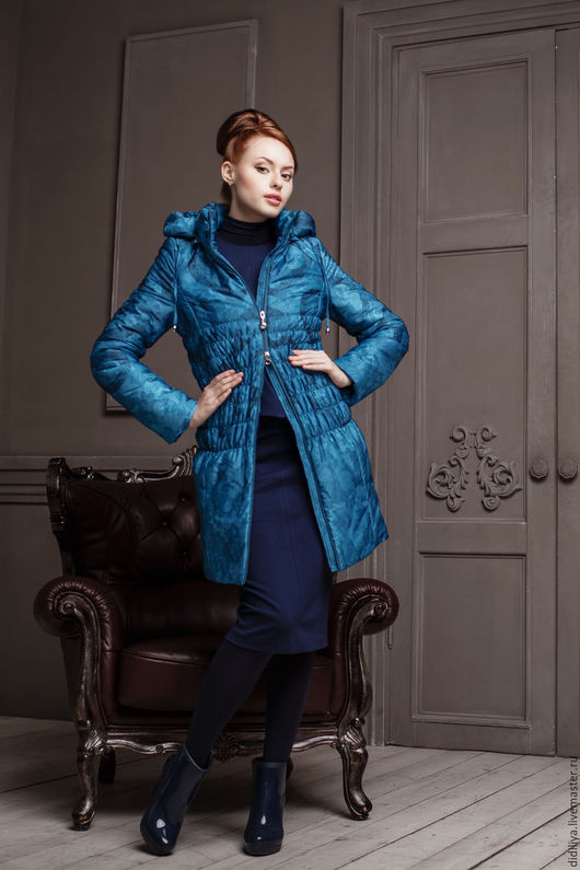 Верхняя одежда ручной работы. Ярмарка Мастеров - ручная работа. Купить Пальто Вирджиния 42. Handmade. Синий, куртки для беременных