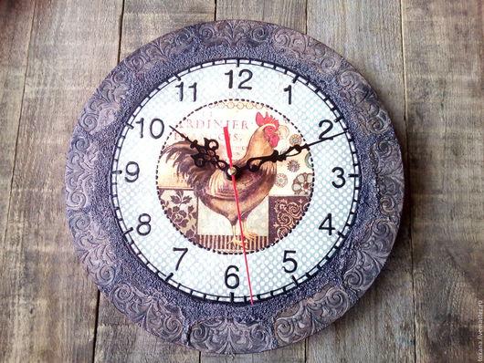 """Новый год 2017 ручной работы. Ярмарка Мастеров - ручная работа. Купить Часы  """"Петух"""". Handmade. Винтаж, птичка, интерьерное украшение"""