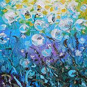 """Картины и панно ручной работы. Ярмарка Мастеров - ручная работа """"Дождь из одуванчиков"""" 60х60 см большая картина маслом мастихином. Handmade."""