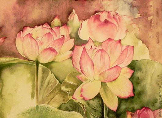 Картины цветов ручной работы. Ярмарка Мастеров - ручная работа. Купить Картина акварелью Лотосы. Handmade. Лотос, картина, цветы