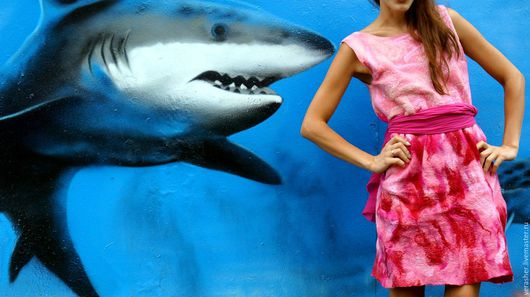 Ручная работа. Вера Шерстова. Валяное платье. Нунофелтинг. Нежный войлок. Яркие краски. Одежда. Платье. Handmade.
