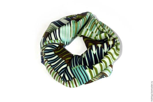 Шарфы и шарфики ручной работы. Ярмарка Мастеров - ручная работа. Купить Шарф-снуд «Дыхание весны»! абстрактные полоски зеленый синий. Handmade.