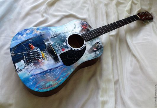 Струнные инструменты ручной работы. Ярмарка Мастеров - ручная работа. Купить Гитара для моряка-рыбака). Handmade. Гитара, синий, рыбак