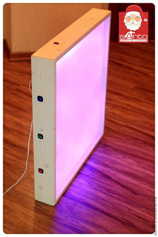 Подсветка включается с кнопок СИНИЙ, ЗЕЛЕНОЙ, КРАСНОЙ, если кнопки включать одновременно можно смешивать цвета, получая ЖЕЛТЫЙ, ГОЛУБОЙ, ФЕОЛЕТОВЫЙ.