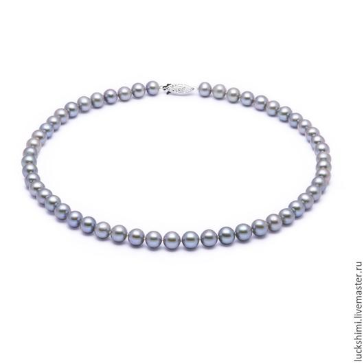 жемчужное ожерелье,  купить жемчужное ожерелье, ожерелье из жемчуга, серый жемчуг