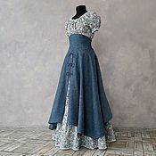 handmade. Livemaster - original item Linen swing skirt with a high belt. Handmade.