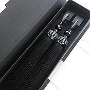 """Серьги-кисти ручной работы. Ярмарка Мастеров - ручная работа Черные серьги кисти """"lux black"""". Handmade."""
