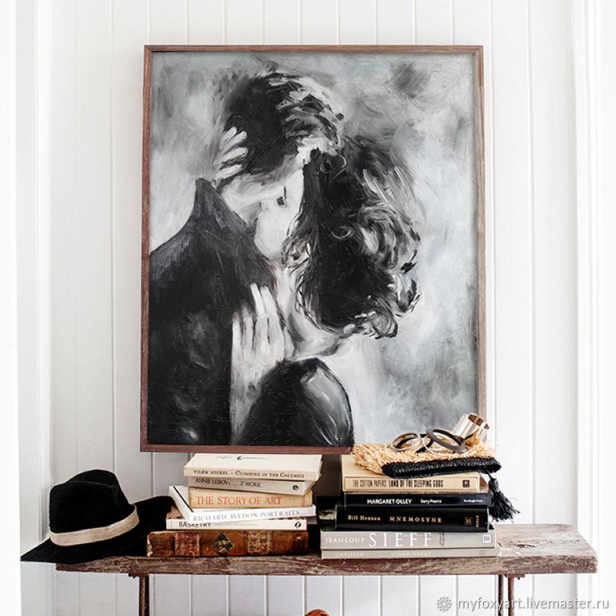 Поцелуй, 50х60см, картина маслом на холсте, влюбленные, любовь, двое, Картины, Санкт-Петербург, Фото №1