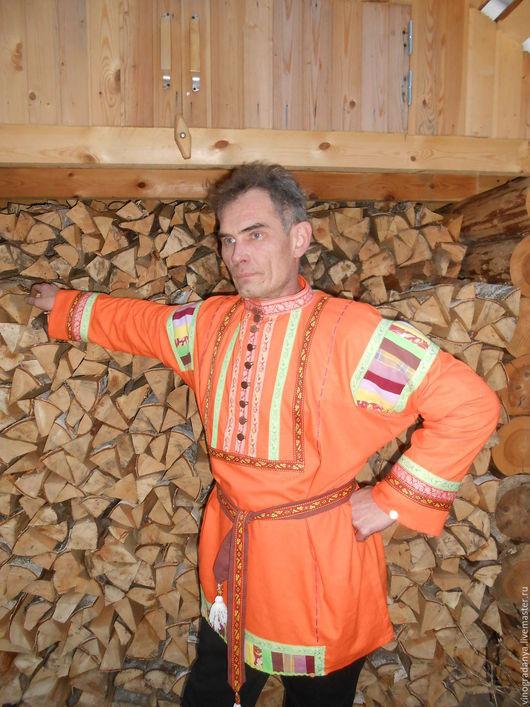 Для мужчин, ручной работы. Ярмарка Мастеров - ручная работа. Купить мужская русская рубашка. Handmade. Однотонный, Театральный костюм