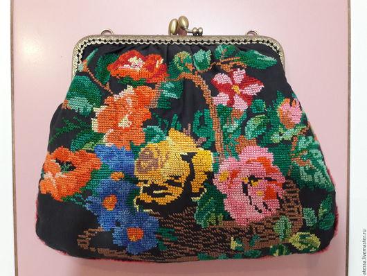 Женские сумки ручной работы. Ярмарка Мастеров - ручная работа. Купить Сумочка с вышивкой. Handmade. Комбинированный, розы, Фермуар пришивной