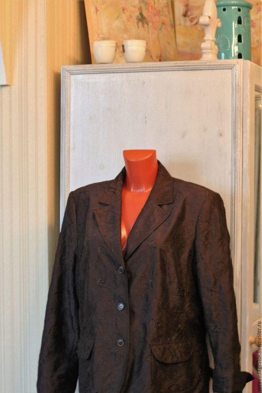 Одежда. Ярмарка Мастеров - ручная работа. Купить 40 Пиджак или ветровка шоколадная вышитая  Bonita Германия  50 52. Handmade.