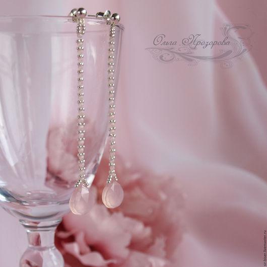 """Серьги ручной работы. Ярмарка Мастеров - ручная работа. Купить Серьги """"Зефир"""". Handmade. Розовый, подарок, серебряный бисер"""