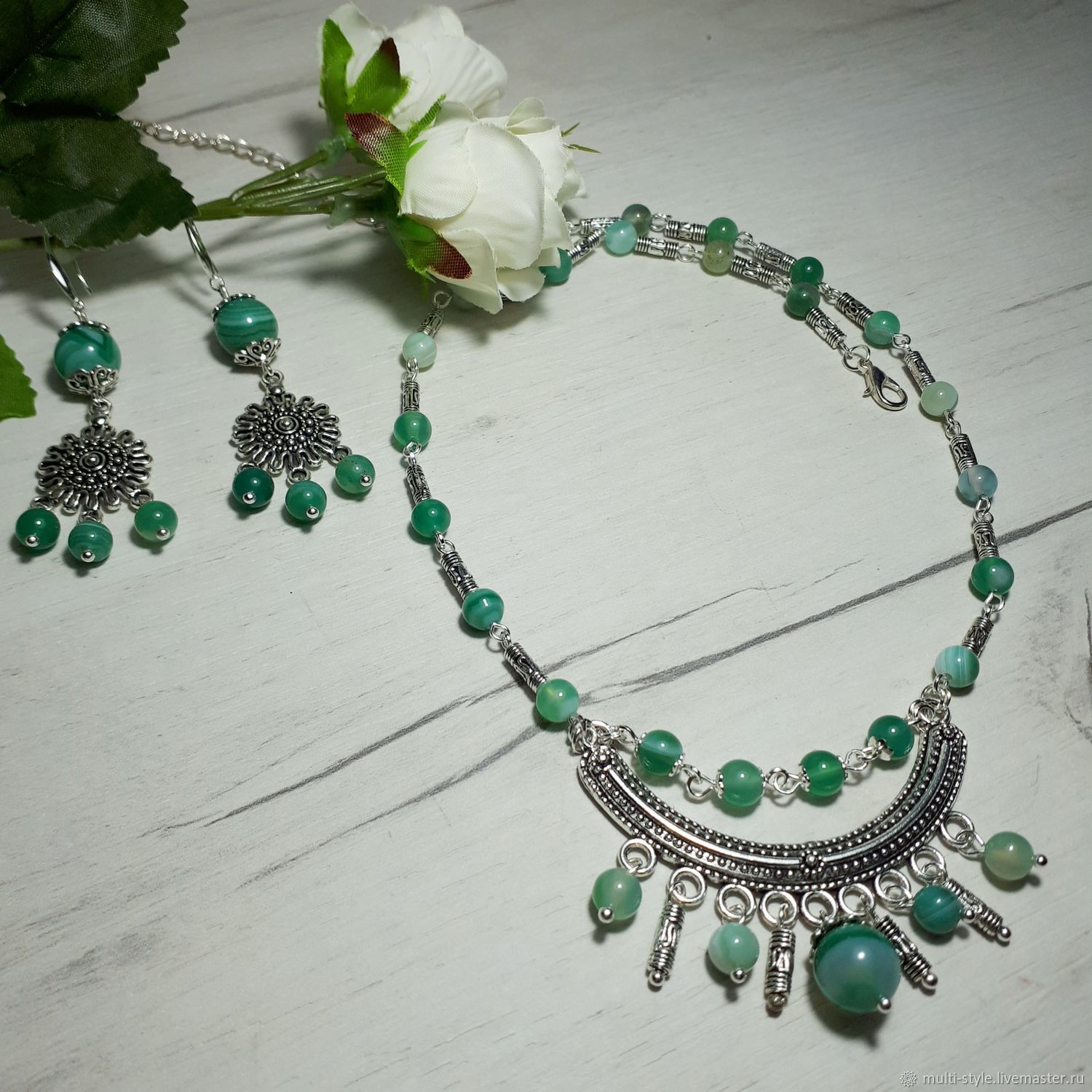 Necklace earrings bracelet with green agate ' Emerald', Jewelry Sets, St. Petersburg,  Фото №1
