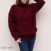 Одежда handmade. Livemaster - original item Knitted sweater women`s color Burgundy. Handmade.