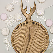 Посуда handmade. Livemaster - original item Cutting round 30 cm board with horns, color