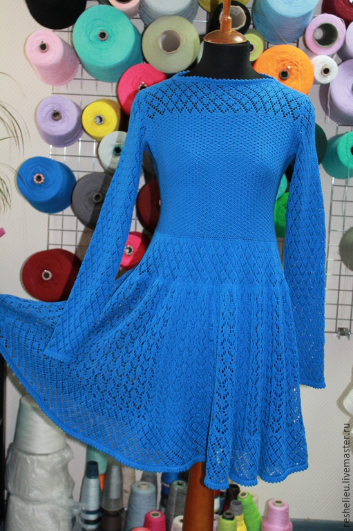 Платья ручной работы. Ярмарка Мастеров - ручная работа. Купить Платье №71 вязаное из 100% итальянского хлопка. Handmade. Синий