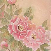 """Картины и панно ручной работы. Ярмарка Мастеров - ручная работа Картина на шелке """"Пионы """"-Триптих, картина с пионами. Handmade."""