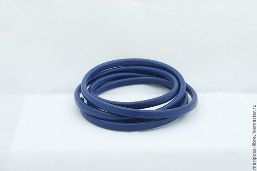 Для украшений ручной работы. Ярмарка Мастеров - ручная работа. Купить Шнур 10х6,5 кожаный, синий. Handmade.