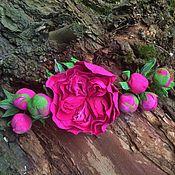 """Свадебный салон ручной работы. Ярмарка Мастеров - ручная работа свадебная украшение """" Английская роза малиново- фуксиевого цвета"""". Handmade."""
