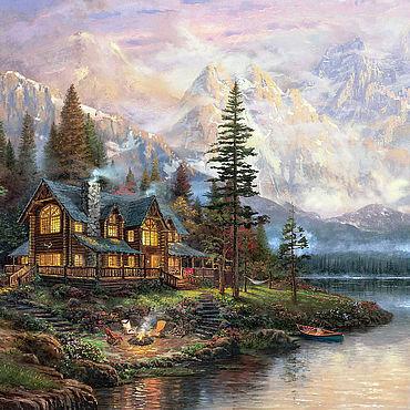 Картины и панно ручной работы. Ярмарка Мастеров - ручная работа Кинкейд Томас. Дом у горного озера. Handmade.