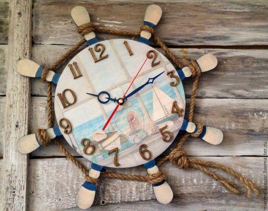 """Часы для дома ручной работы. Ярмарка Мастеров - ручная работа. Купить Часы настенные в морском стиле """"Вид из окна"""". Handmade."""
