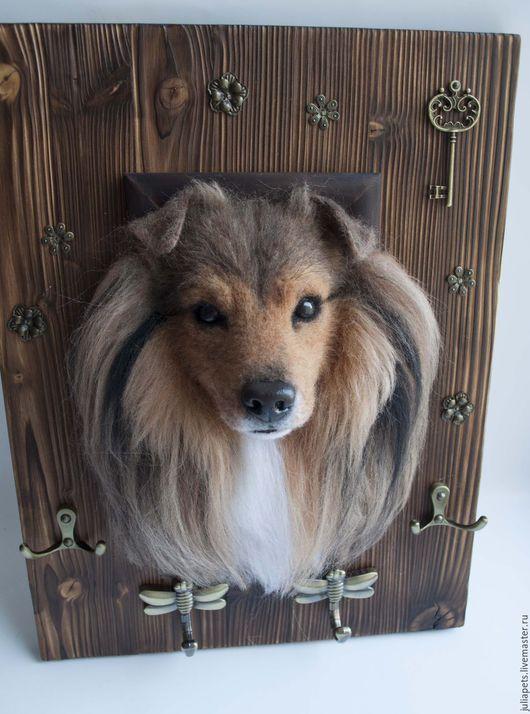 Прихожая ручной работы. Ярмарка Мастеров - ручная работа. Купить Ключница собака Шелти. Handmade. Коричневый, питомец