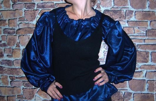 Блузки ручной работы. Ярмарка Мастеров - ручная работа. Купить Блузка темно-синяя. Handmade. Тёмно-синий, рубашка женская