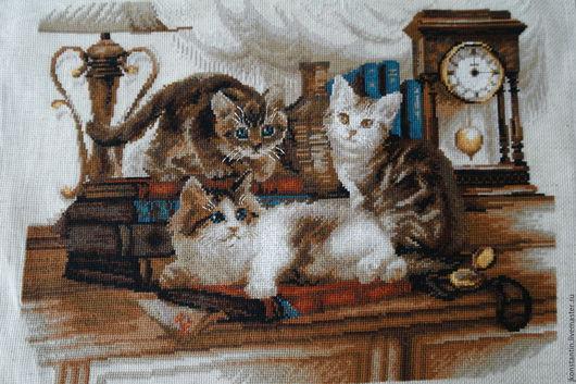 """Животные ручной работы. Ярмарка Мастеров - ручная работа. Купить Картина """"Пушистые друзья"""". Handmade. Комбинированный, вышивка на заказ"""
